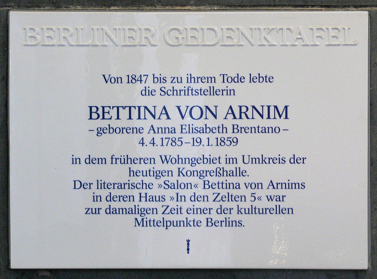 Bild Bettina von Arnim Gedenktafel Berlin