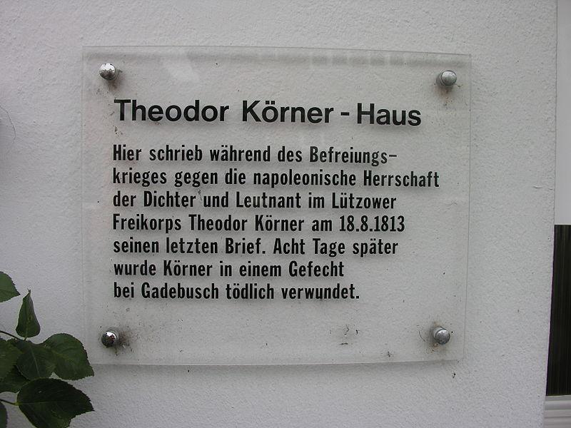 Bild Körner Gedenktafel Ratzeburg