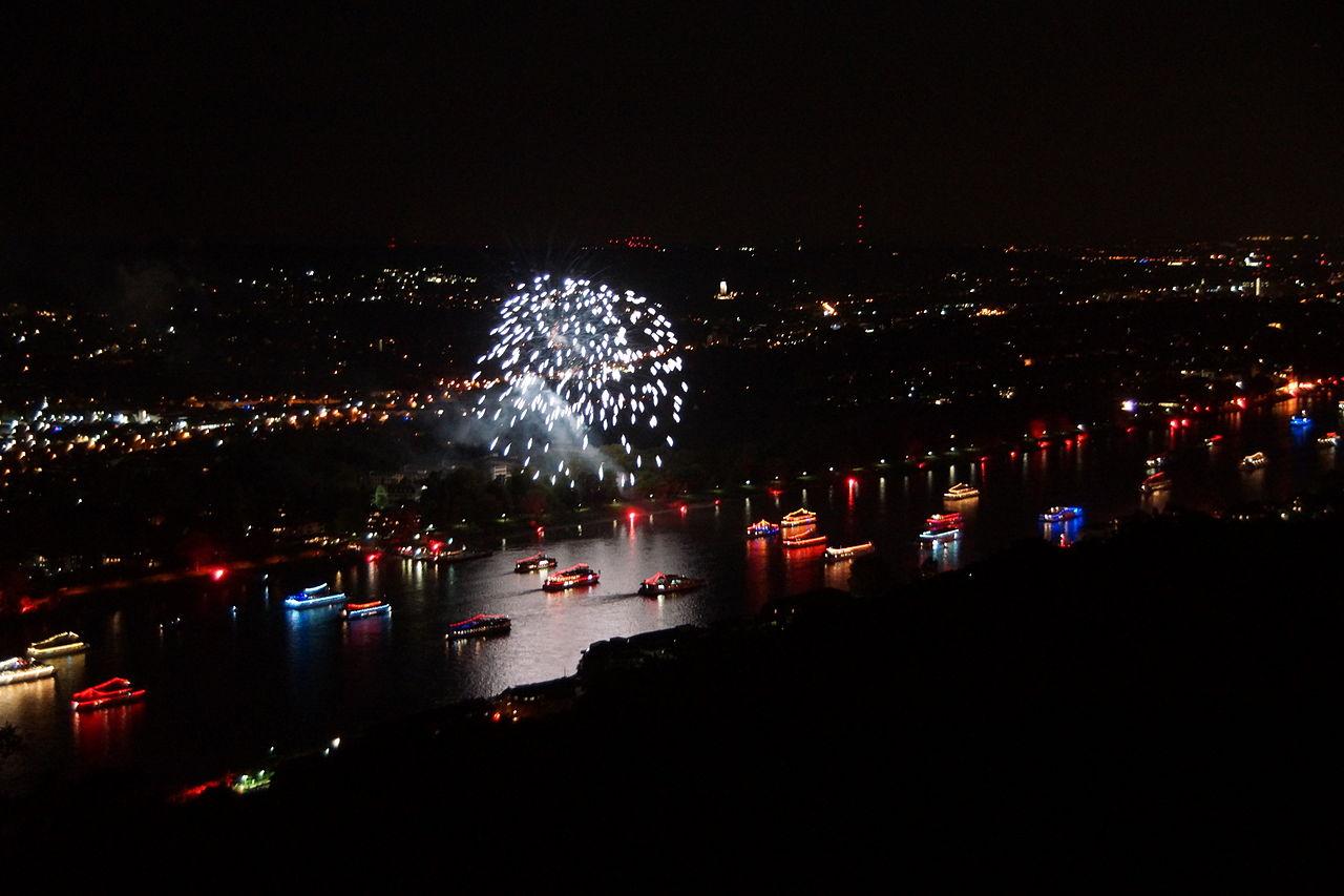 Bild Rhein in Flammen am Siebengebirge Bonn