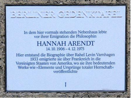 Bild Hannah Arendt Gedenktafel Berlin