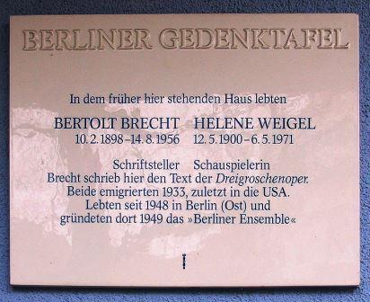 Bild Brecht Gedenktafel Berlin Wilmersdorf