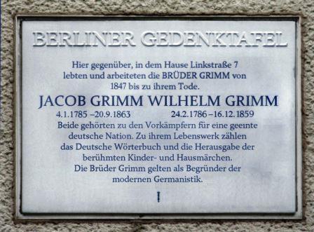 Bild Gedenktafel Brüder Grimm Berlin