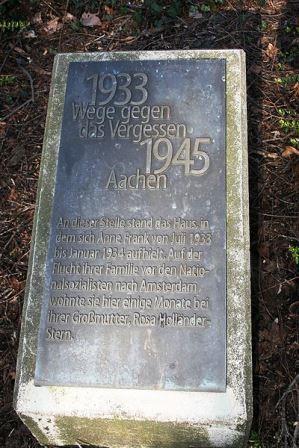 Bild Anne Frank Gedenkstein Aachen